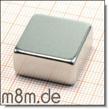 Magnetquader 20 x 20 x 10 mm, vernickelt